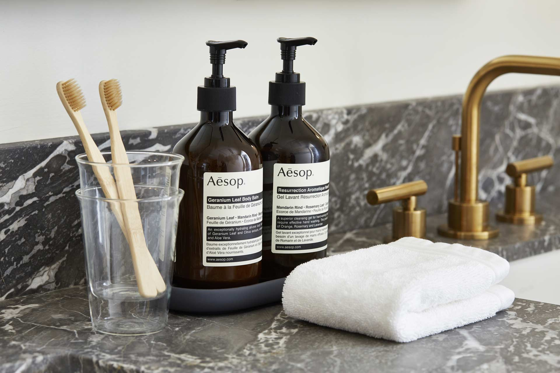 aesop bath amenities