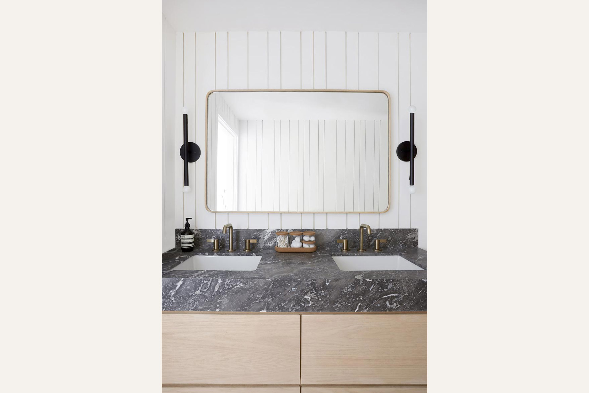 bathroom mirror with marble sink